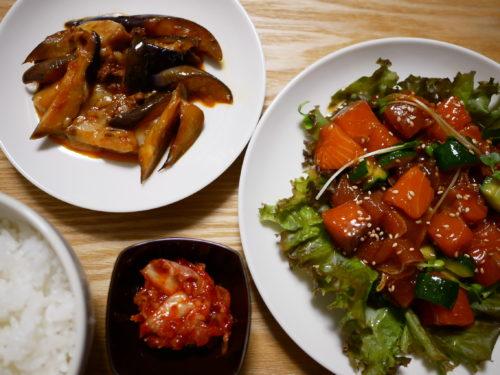 マグロとサーモンの韓国風ユッケの膳