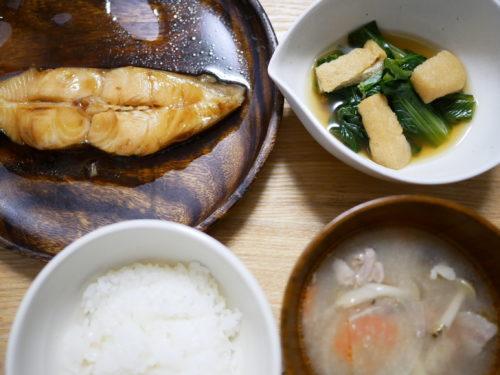 小松菜と油揚げの煮びたしの膳